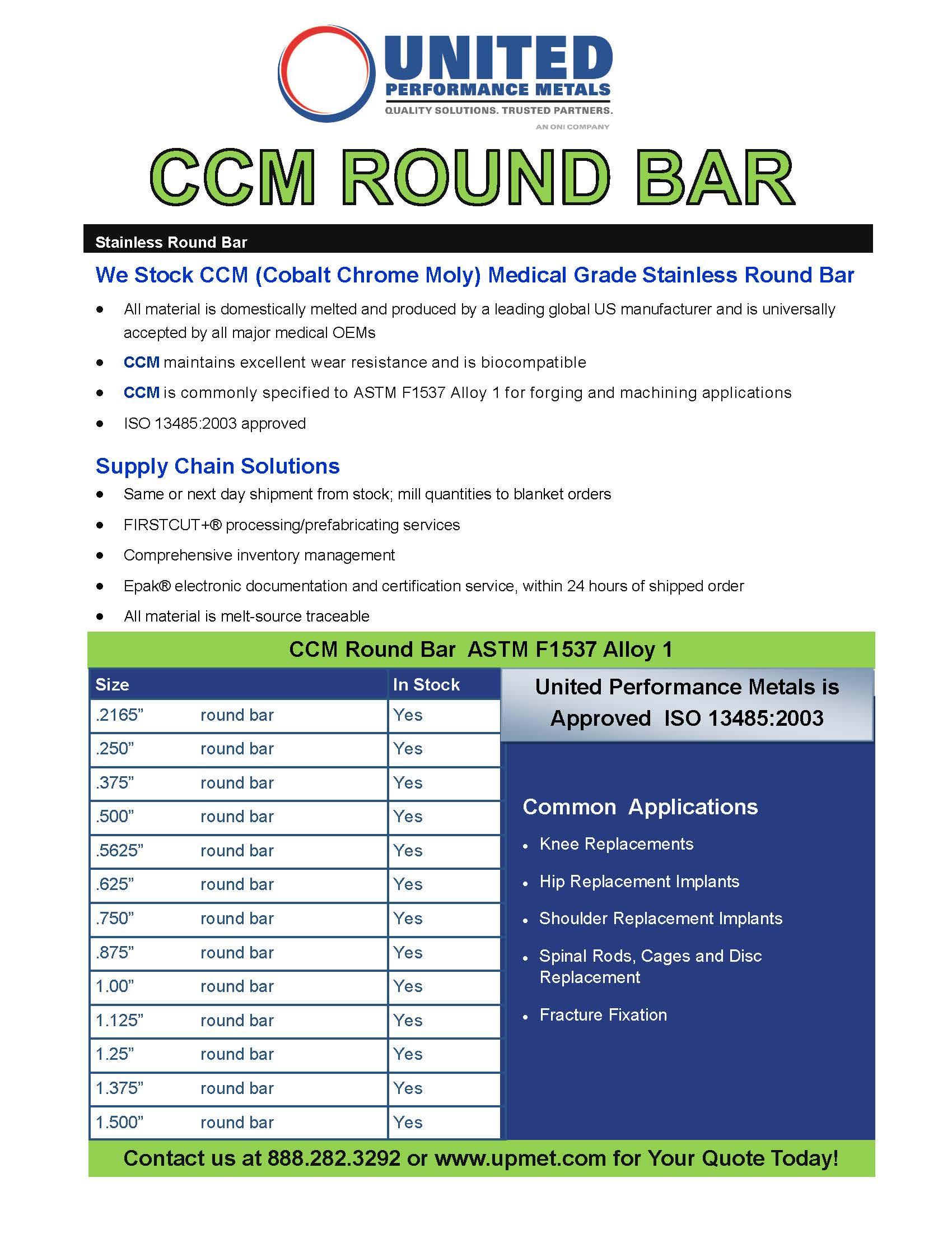 Cobalt Chrome Molybdenum Bar Stock - Chrome Moly Steel